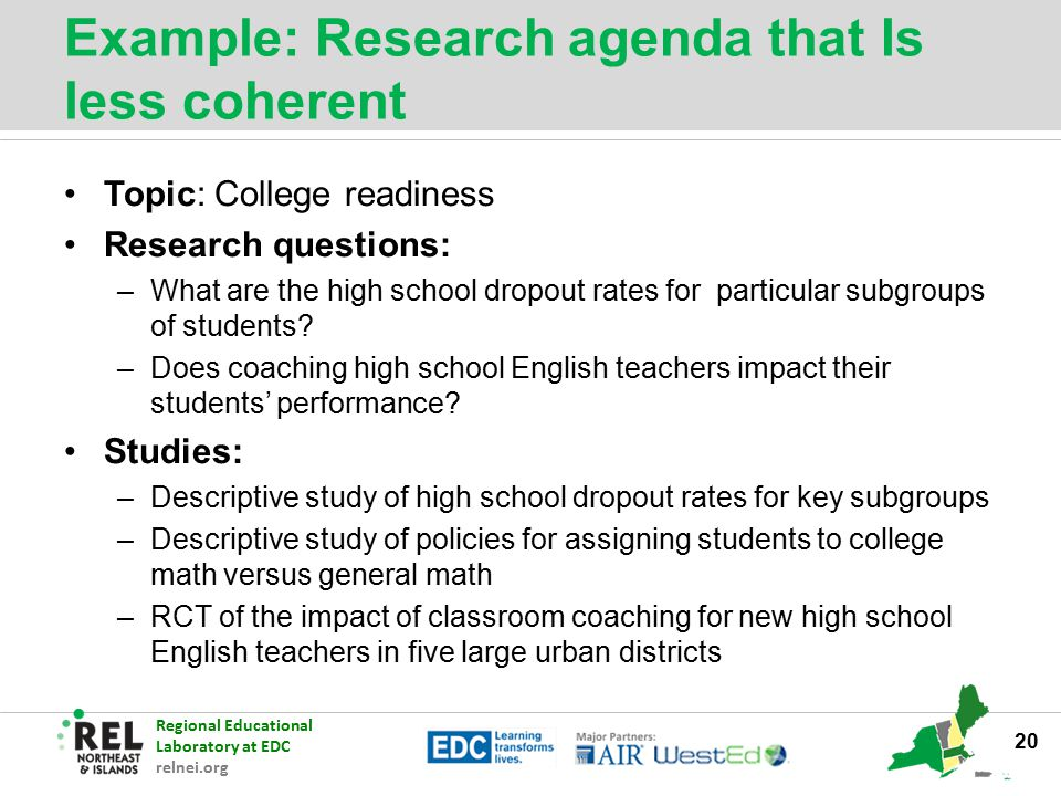 Example: Research agenda that Is less coherent