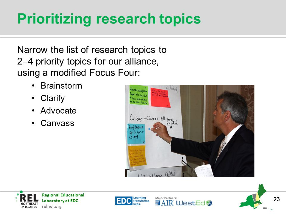 Prioritizing research topics