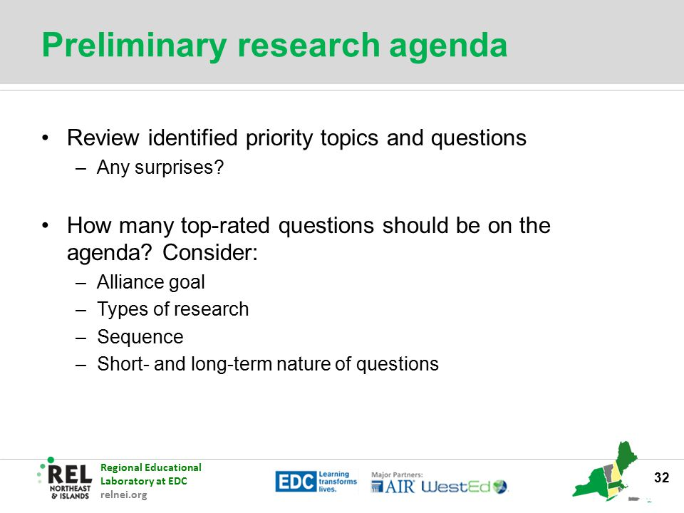 Preliminary research agenda