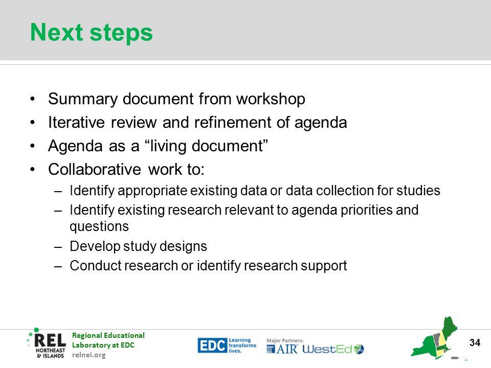 Next steps Summary document from workshop
