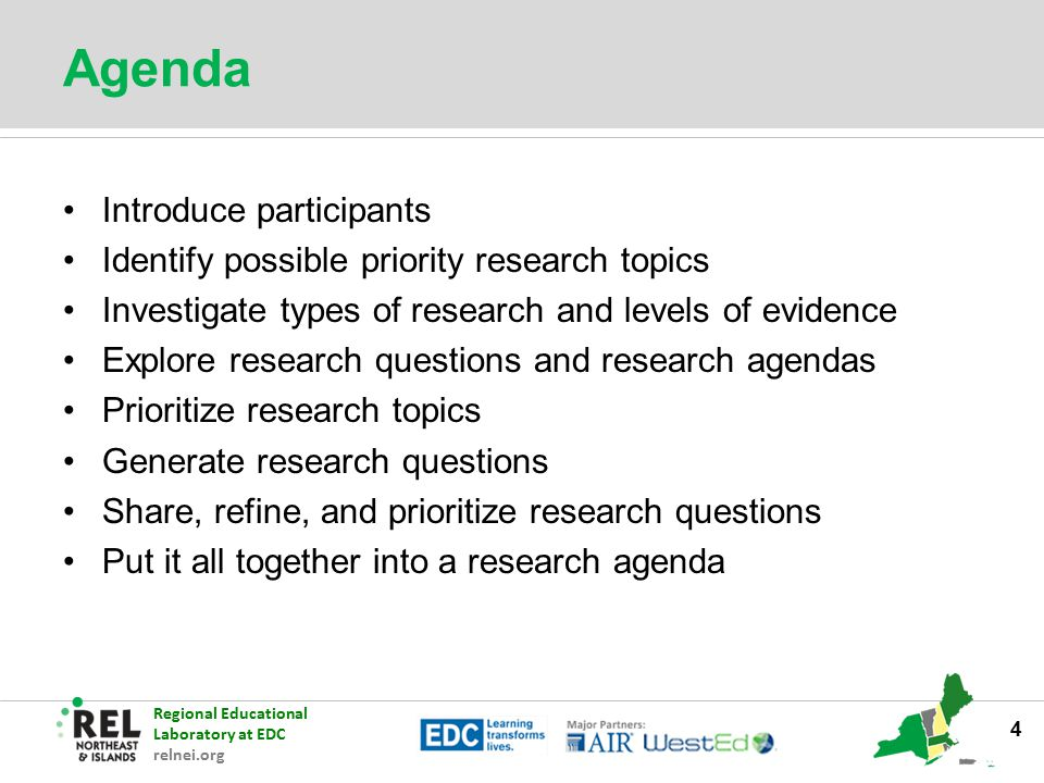 Agenda Introduce participants