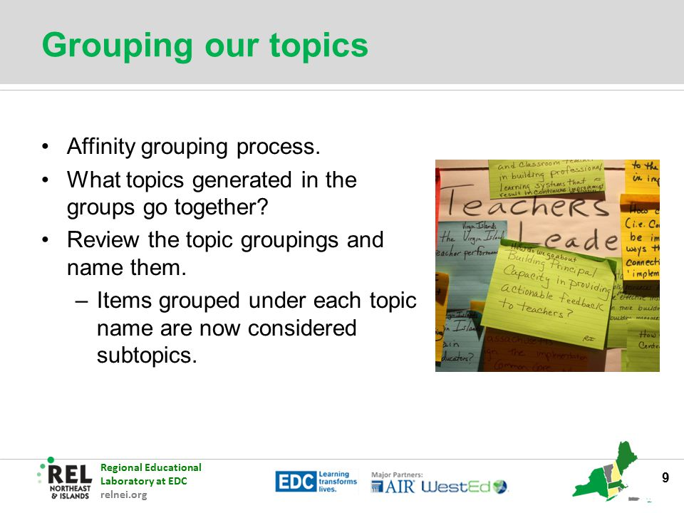 Grouping our topics Affinity grouping process.