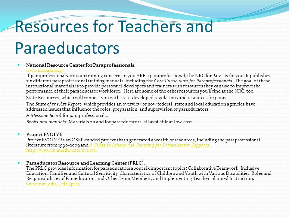 Resources for Teachers and Paraeducators