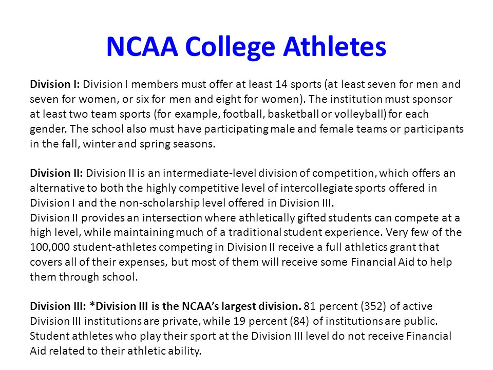 NCAA College Athletes