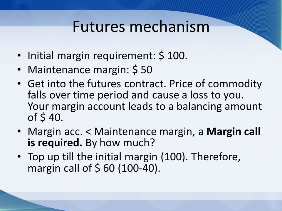 Futures mechanism Initial margin requirement: $ 100.
