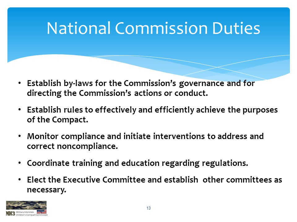 National Commission Duties
