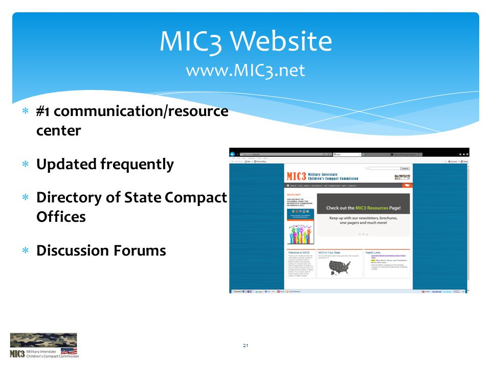 MIC3 Website www.MIC3.net #1 communication/resource center