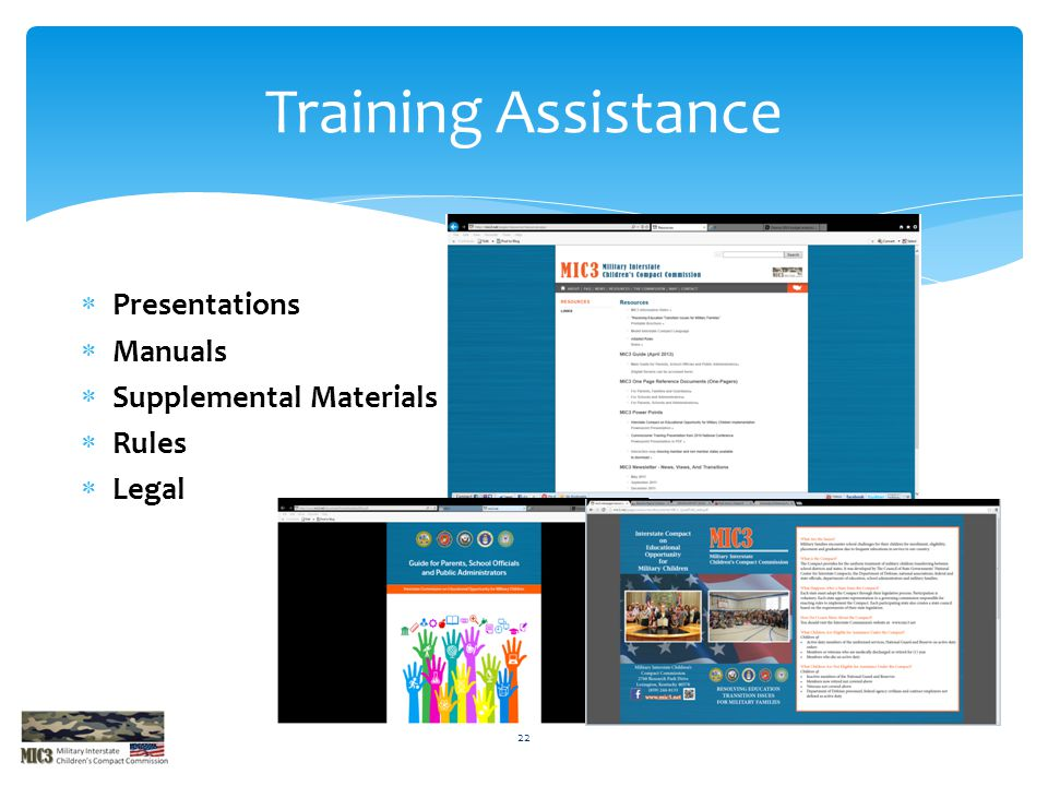 Training Assistance Presentations Manuals Supplemental Materials Rules