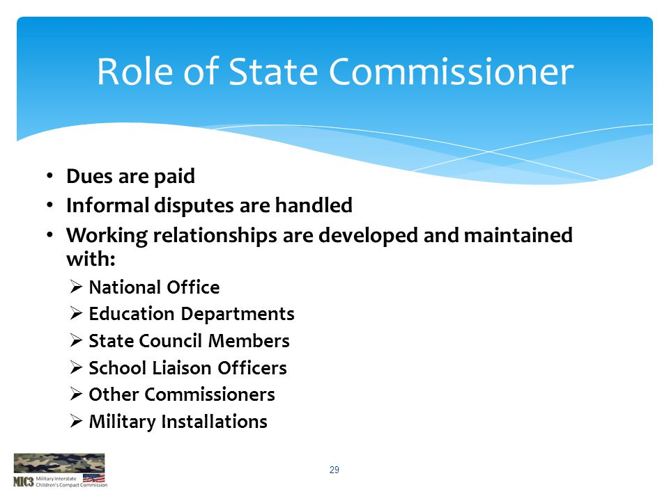 Role of State Commissioner