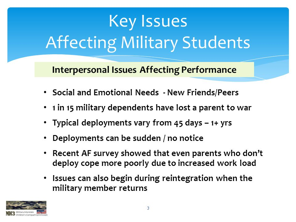 Key Issues Affecting Military Students