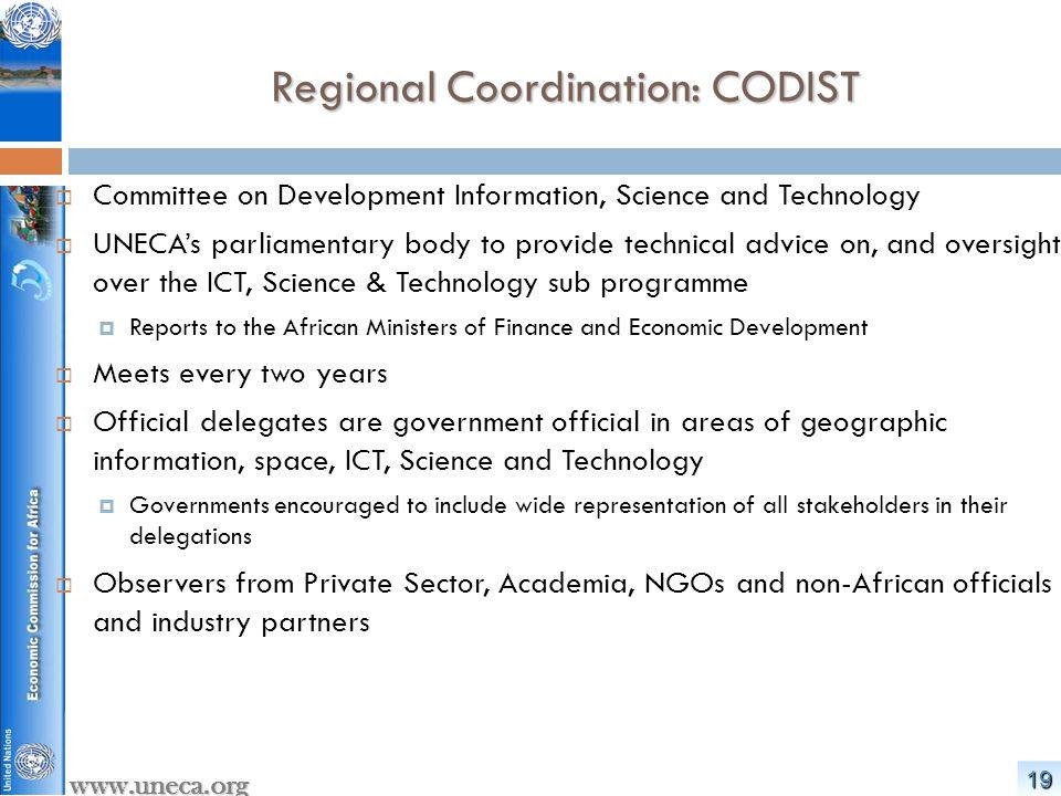 Regional Coordination: CODIST