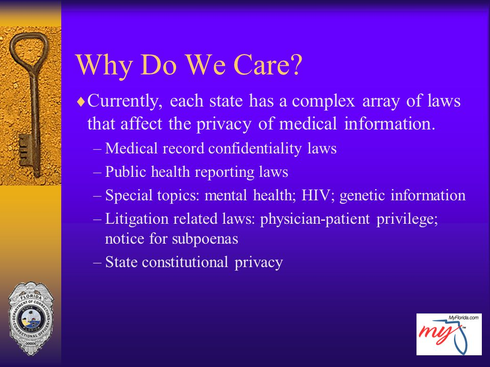 Why Do We Care Currently, each state has a complex array of laws that affect the privacy of medical information.