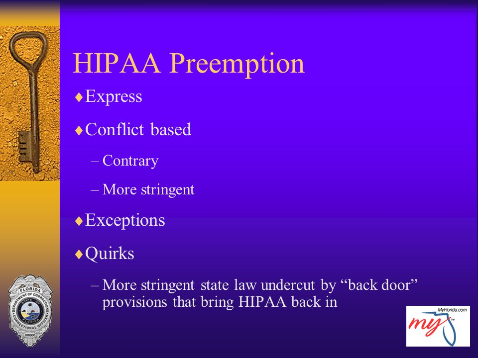 HIPAA Preemption Express Conflict based Exceptions Quirks Contrary