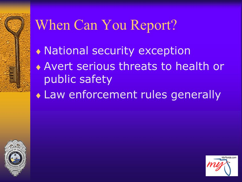 When Can You Report National security exception