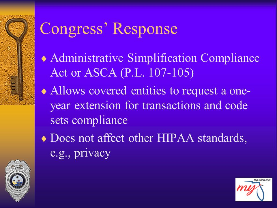 Congress' Response Administrative Simplification Compliance Act or ASCA (P.L. 107-105)