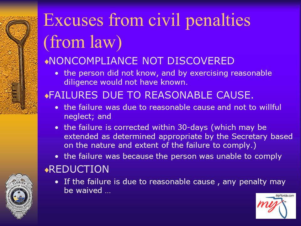Excuses from civil penalties (from law)