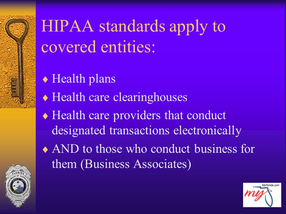 HIPAA standards apply to covered entities: