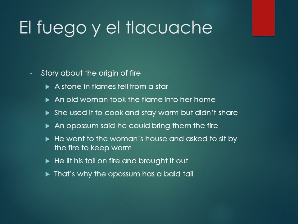 El fuego y el tlacuache Story about the origin of fire