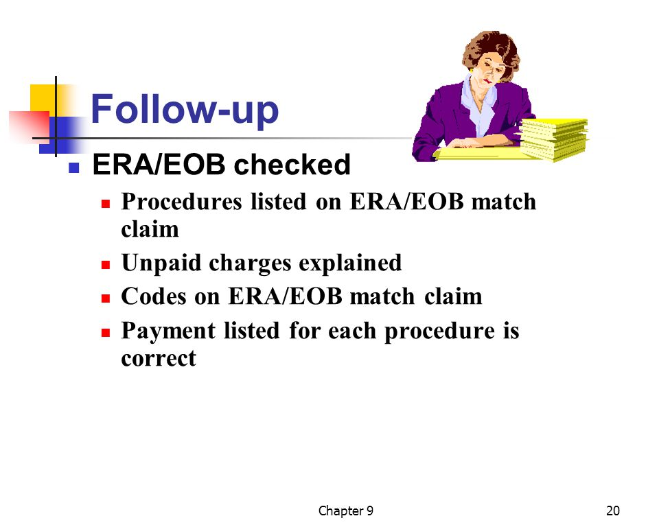 Follow-up ERA/EOB checked Procedures listed on ERA/EOB match claim