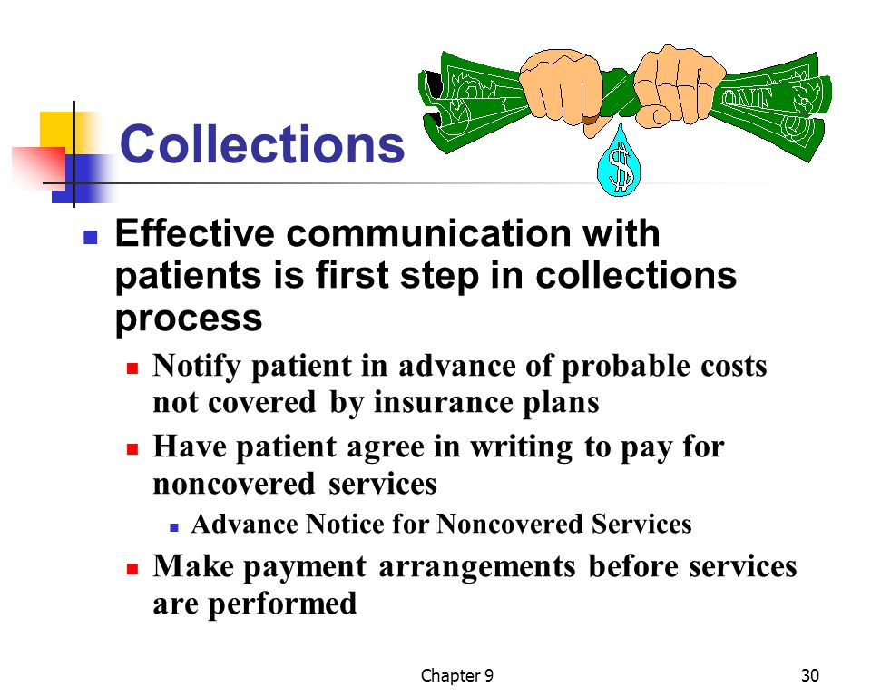 Collections Effective communication with patients is first step in collections process.