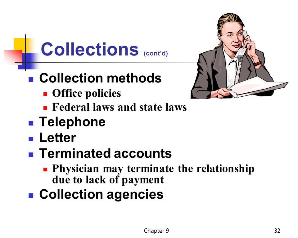 Collections (cont'd) Collection methods Telephone Letter