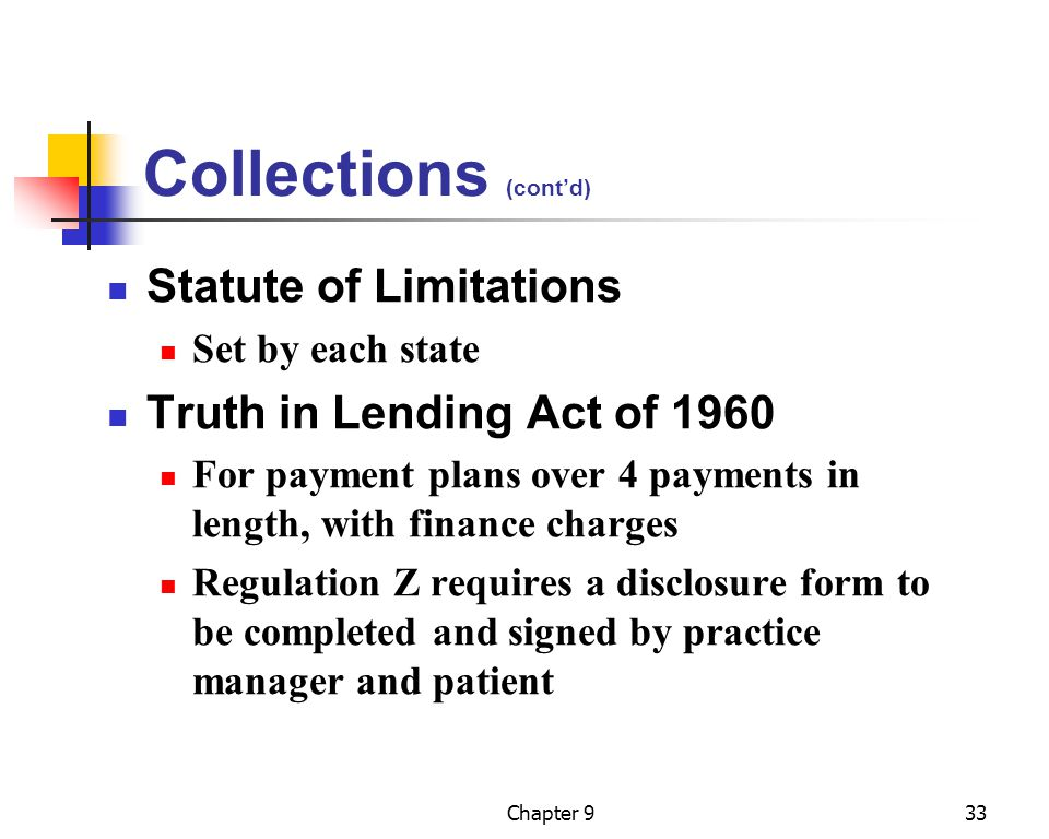 Collections (cont'd) Statute of Limitations