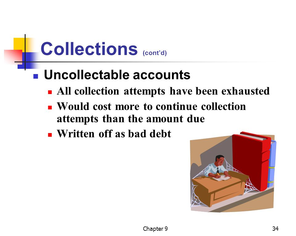 Collections (cont'd) Uncollectable accounts