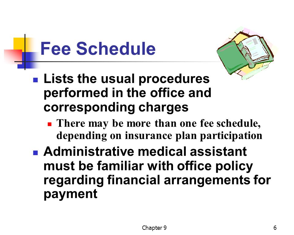Fee Schedule Lists the usual procedures performed in the office and corresponding charges.