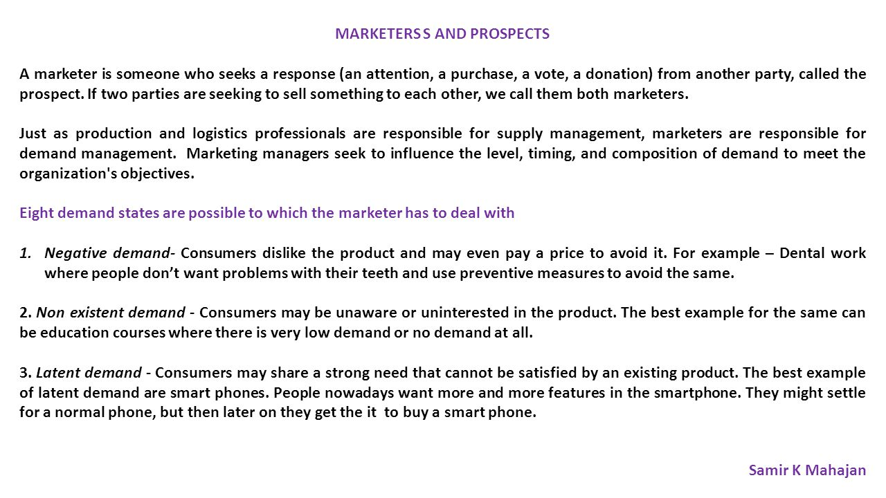 MARKETERS S AND PROSPECTS