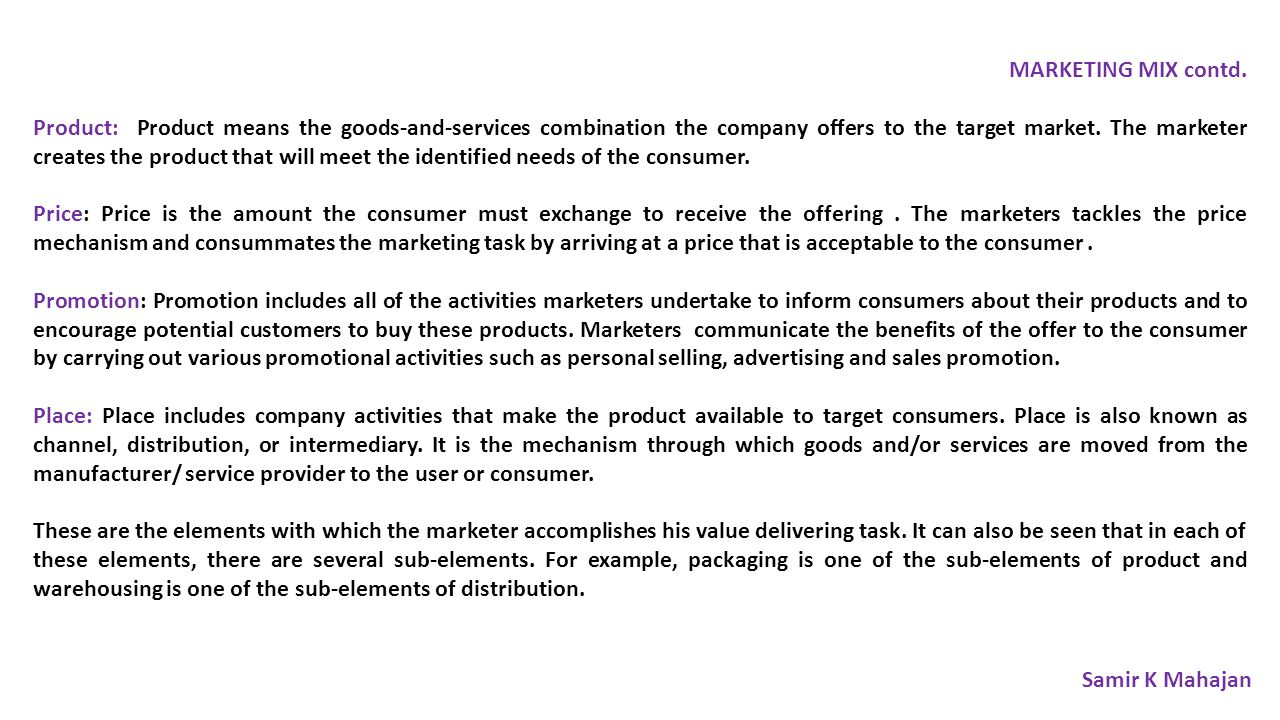 MARKETING MIX contd.