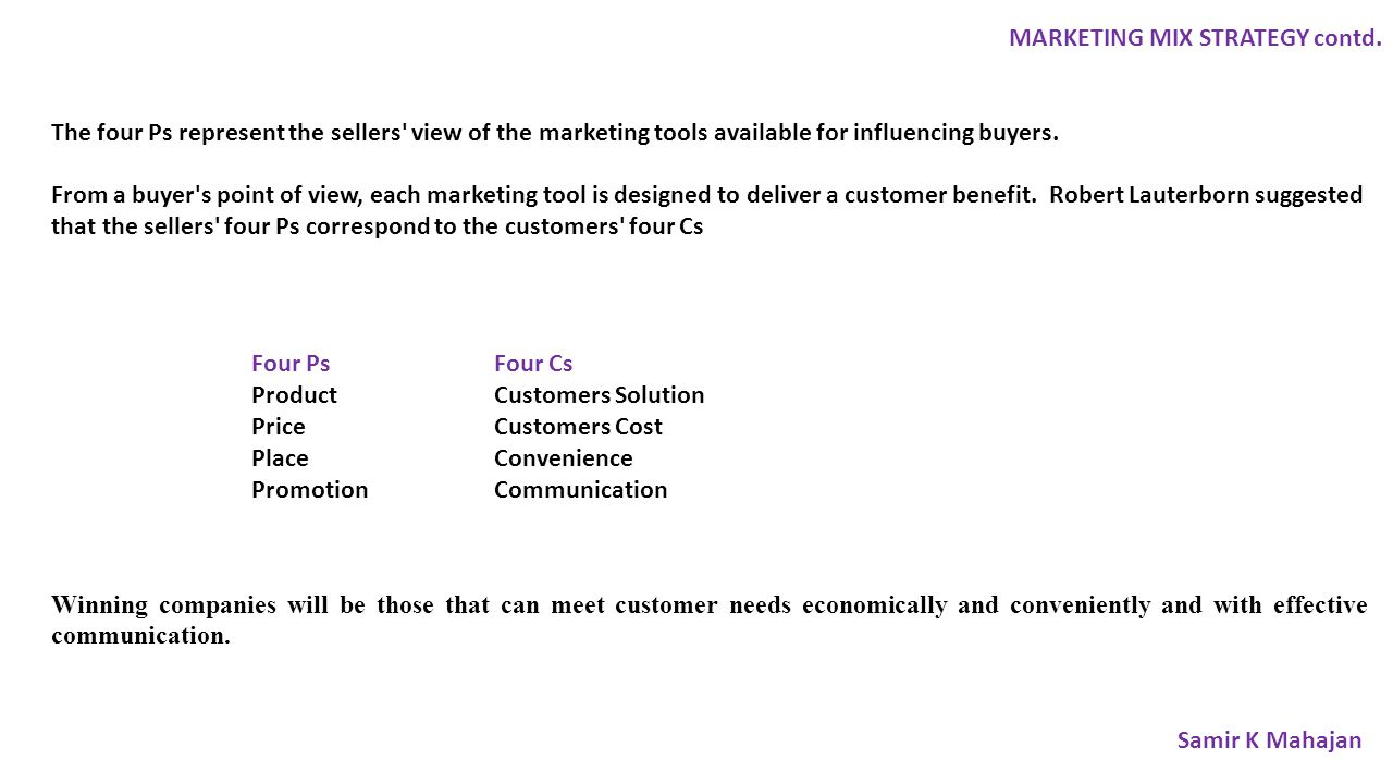 MARKETING MIX STRATEGY contd.