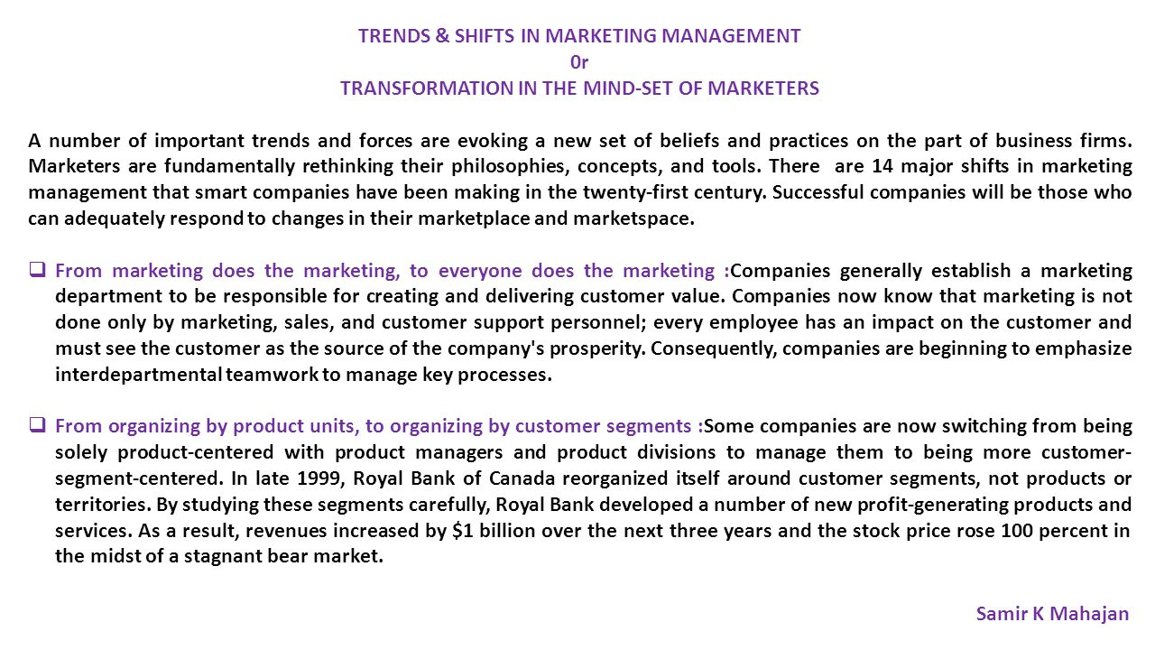 TRENDS & SHIFTS IN MARKETING MANAGEMENT 0r