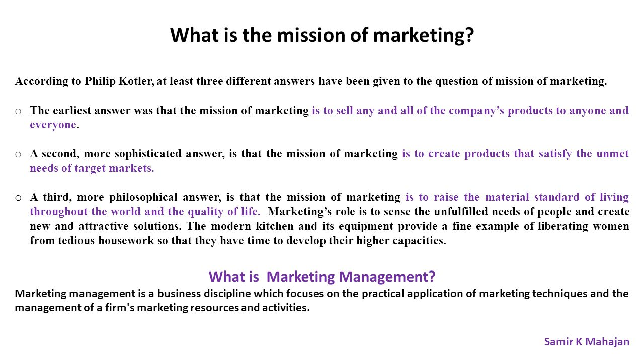 What is the mission of marketing