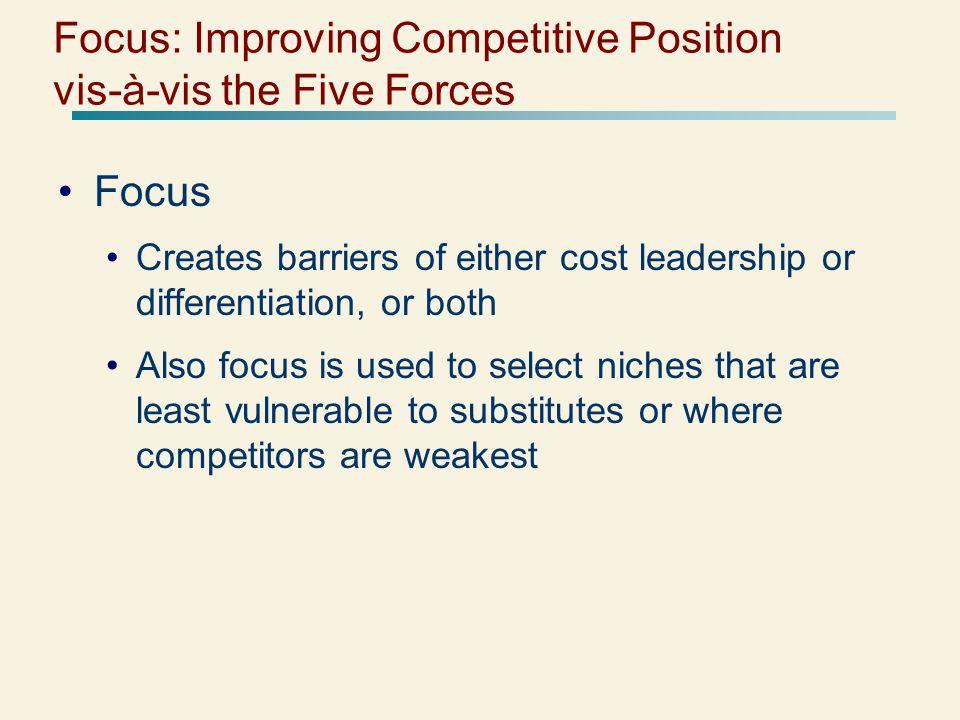 Focus: Improving Competitive Position vis-à-vis the Five Forces