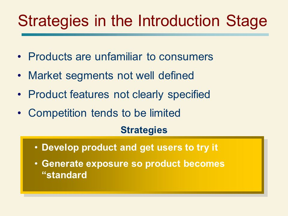 Strategies in the Introduction Stage