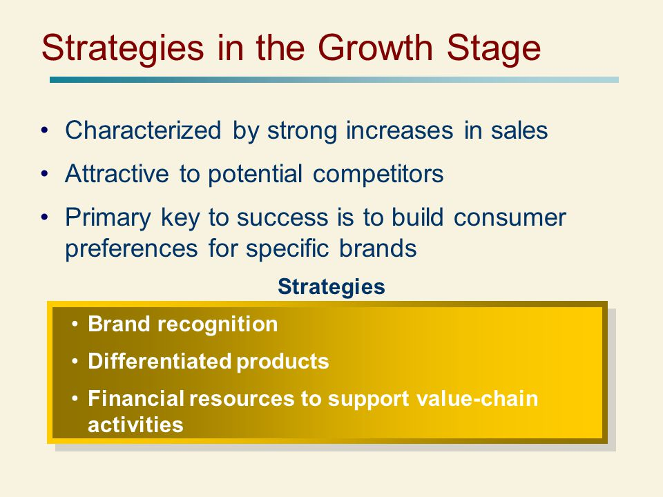 Strategies in the Growth Stage