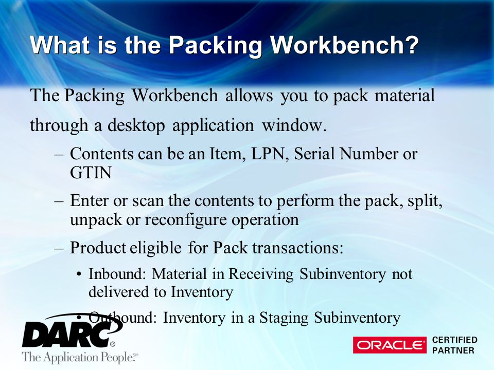 What is the Packing Workbench