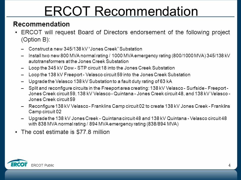 ERCOT Recommendation Recommendation