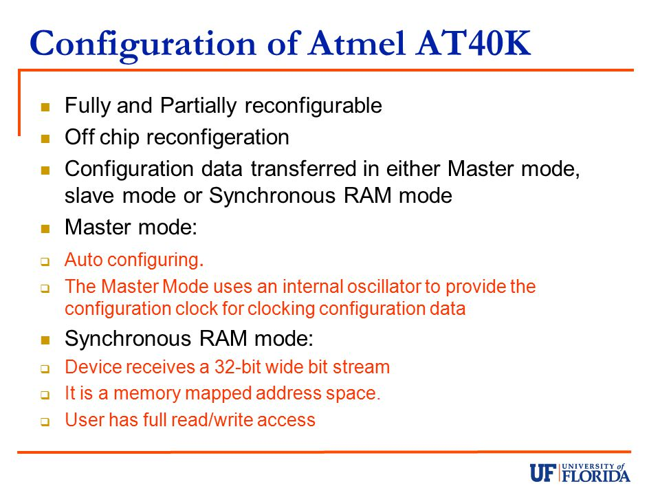 Configuration of Atmel AT40K