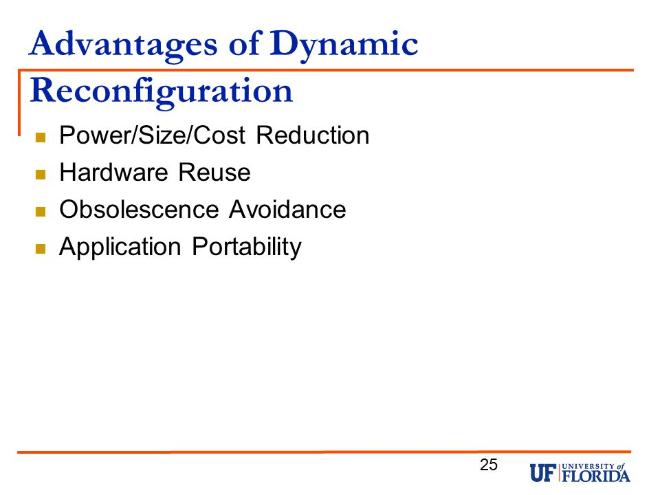 Advantages of Dynamic Reconfiguration