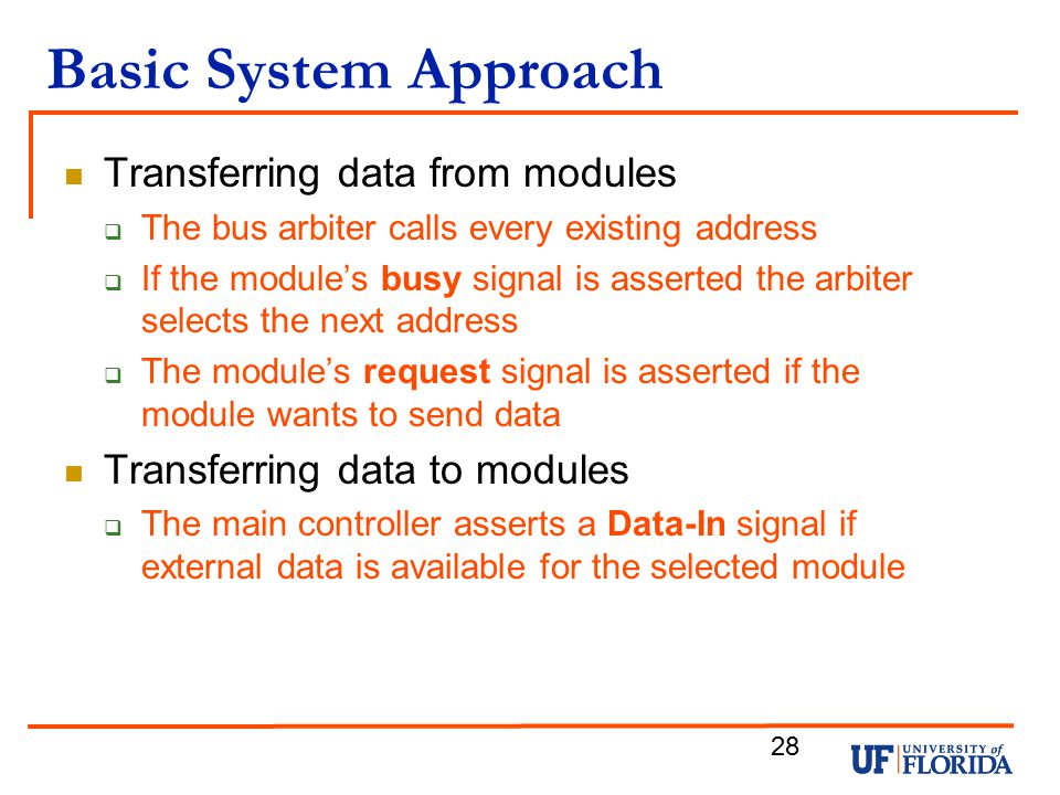 Basic System Approach Transferring data from modules