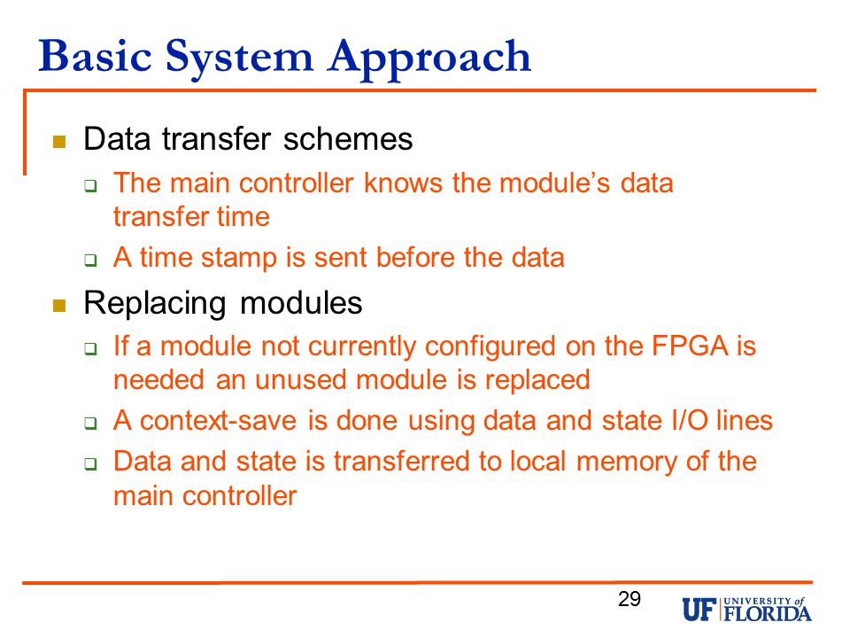 Basic System Approach Data transfer schemes Replacing modules