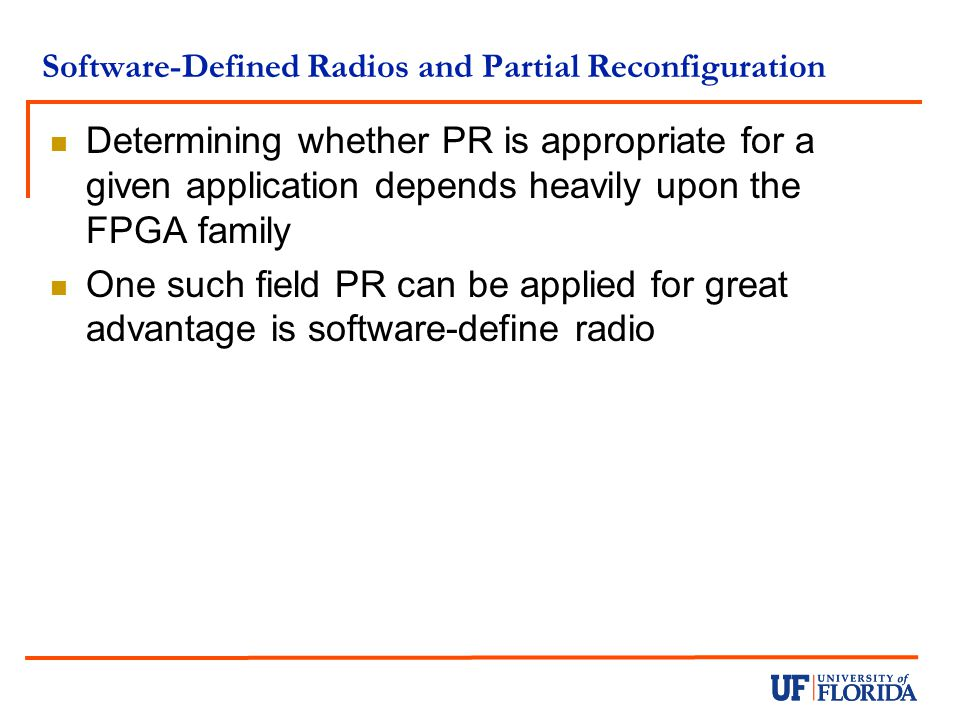 Software-Defined Radios and Partial Reconfiguration