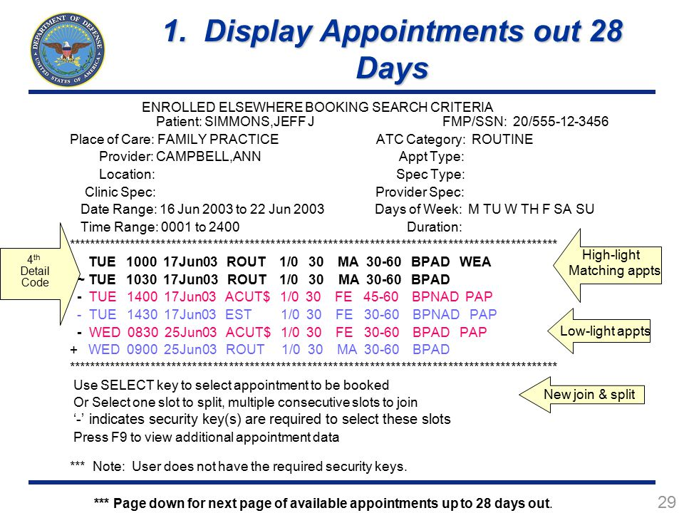 1. Display Appointments out 28 Days