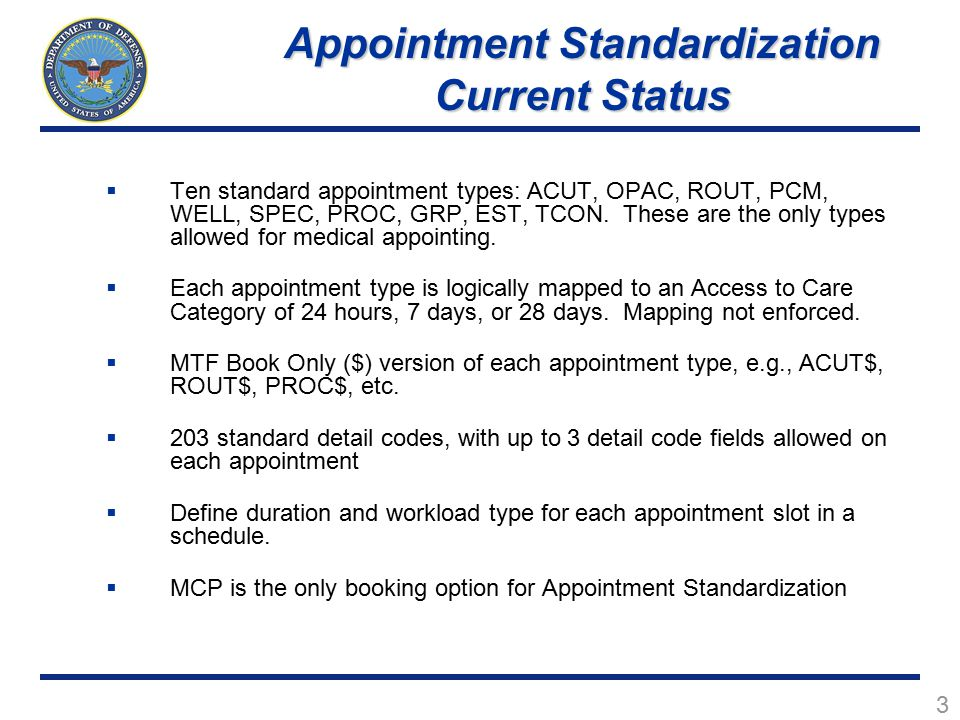Appointment Standardization Current Status