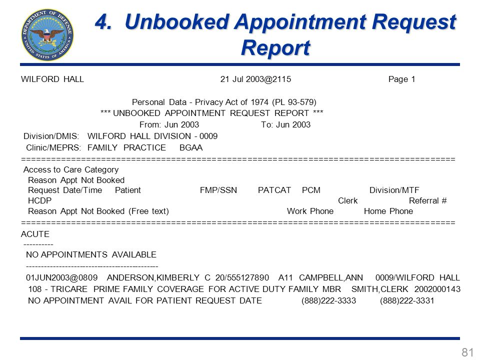 4. Unbooked Appointment Request Report