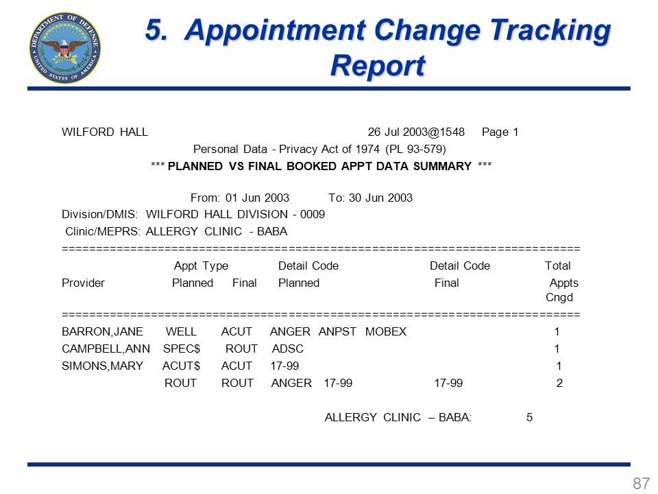 5. Appointment Change Tracking Report