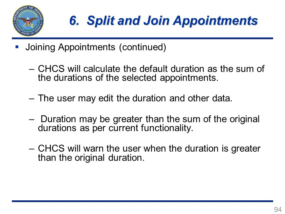 6. Split and Join Appointments