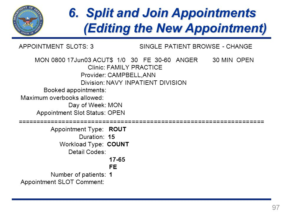 6. Split and Join Appointments (Editing the New Appointment)