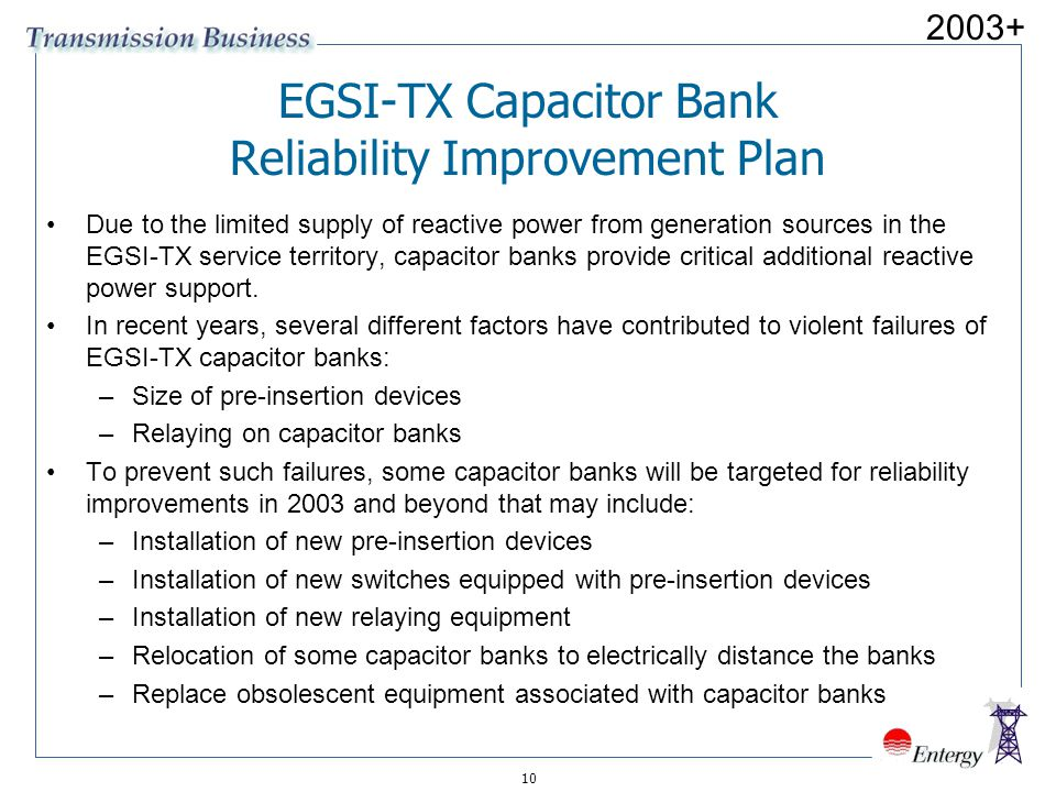 EGSI-TX Capacitor Bank Reliability Improvement Plan